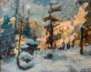 OMERSA NIKOLAJ, ZIMSKA KRAJINA, olje, pl. 29 × 36 cm