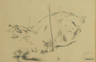 Jakac Božidar Fontana California, 1930, kreda, papir, 31 × 47 cm